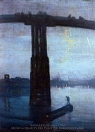 Nocturne in Blue and Gold: the Old Bridge at Battersea painting reproduction, James McNeill Whistler