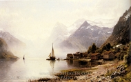 Norwegian Fjord with Snow Capped Mountains painting reproduction, Anders Monsen Askevold