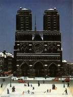 Notre Dame Under Snow painting reproduction, Michel Delacroix