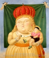 Nuestra Senora de Colombia painting reproduction, Fernando Botero