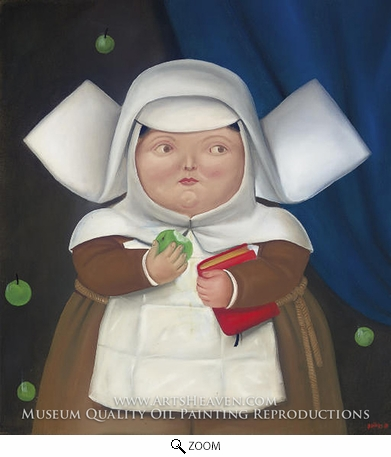Painting Reproduction of Nun Eating Apple, Fernando Botero