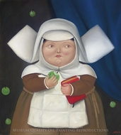 Nun Eating Apple painting reproduction, Fernando Botero