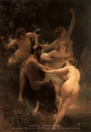 Nymphs and Satyr (Nymphes et Satyre) painting reproduction, William Adolphe Bouguereau