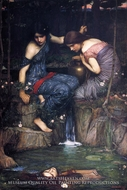 Nymphs Finding the Head of Orpheus painting reproduction, John William Waterhouse