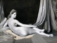 Odalisque in Grisaille painting reproduction, Jean Auguste Dominique Ingres