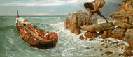 Odysseus and Polyphemus painting reproduction, Arnold Bocklin