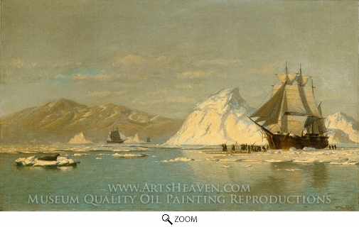 Painting Reproduction of Off Greenland, Whaler Seeking Open Water, William Bradford