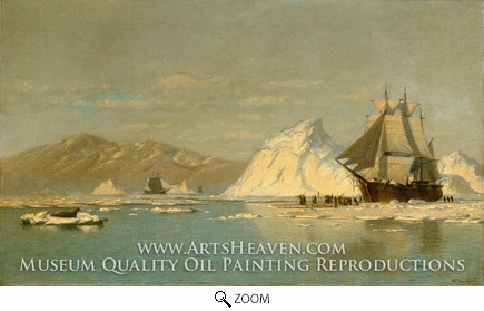 Painting Reproduction of Off Greenland�Whaler Seeking Open Water, William Bradford