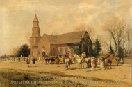 Old Bruton Church, Williamsburg, Virginia, in the Time of Lord Dunmore painting reproduction, Alfred Wordsworth Thompson