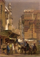 Old Cairo painting reproduction, Amedeo Preziosi