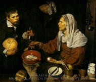 Old Woman Poaching Eggs painting reproduction, Diego Velazquez