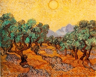 Olive Trees with Yellow Sky and Sun painting reproduction, Vincent Van Gogh