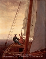 On a Sailing Ship by Caspar David Friedrich