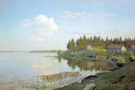 On Lake painting reproduction, Isaak Levitan