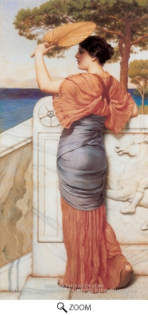 Painting Reproduction of On the Balcony, John William Godward
