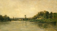 On the Banks of the Oise painting reproduction, Charles Daubigny