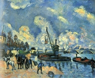 On the Banks of the Seine at Bercy painting reproduction, Paul Cezanne