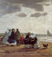 On the Beach, Dieppe by Eugene-Louis Boudin