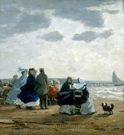 On the Beach, Dieppe painting reproduction, Eugene-Louis Boudin