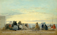 On the Beach, Sunset by Eugene-Louis Boudin