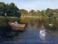On the Lake, Central Park painting reproduction, William Merritt Chase