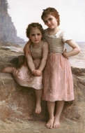 On the Rocky Beach (Sur la Greve) painting reproduction, William Adolphe Bouguereau
