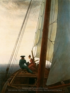 On the Sailing Boat painting reproduction, Caspar David Friedrich