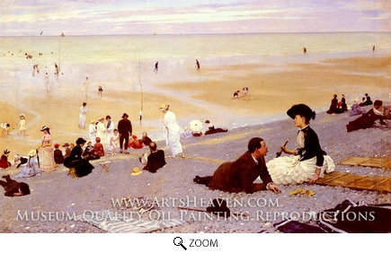 Painting Reproduction of On the Shingle, Albert Aublet