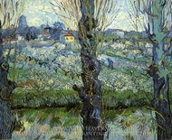 Orchard in Bloom with Poplars painting reproduction, Vincent Van Gogh