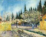 Orchard Surrounded by Cypresses painting reproduction, Vincent Van Gogh