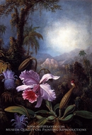 Orchids, Passion Flowers and Hummingbird by Martin Johnson Heade