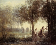 Orpheus Leading Eurydice from the Underworld painting reproduction, Jean-Baptiste Camille Corot