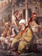 Ottoman Cafe painting reproduction, Amedeo Preziosi
