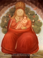 Our Lady of Cajica painting reproduction, Fernando Botero
