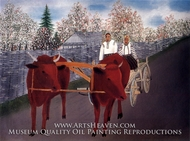 Ox Drawn Vehicle painting reproduction, Gheorghe Coltet