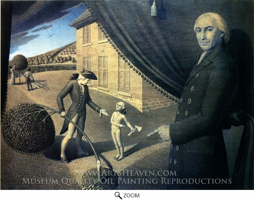 Painting Reproduction of Parson Weems' Fable, Grant Wood