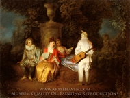 Partie Carree painting reproduction, Jean Antoine Watteau