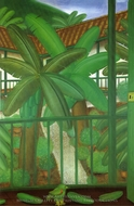 Patio painting reproduction, Fernando Botero