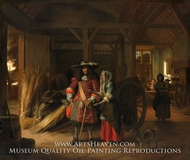 Paying the Hostess painting reproduction, Pieter De Hooch