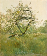 Peach Blossoms Villiers-le-Bel painting reproduction, Childe Hassam