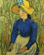 Peasant Girl with Yellow Straw Hat by Vincent Van Gogh