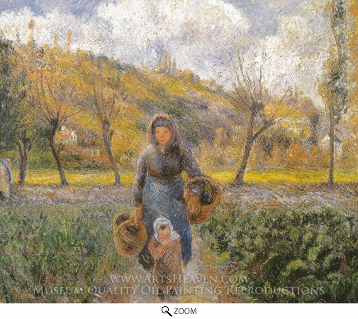Painting Reproduction of Peasant Woman and Child, Eragny, Camille Pissarro