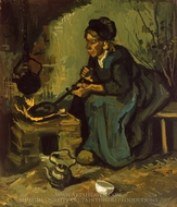 Peasant Woman Cooking by a Fireplace painting reproduction, Vincent Van Gogh