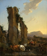 Peasants by a Ruined Aqueduct painting reproduction, Nicolaes Berchem