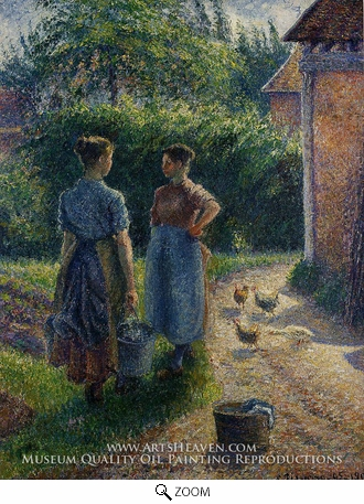 Painting Reproduction of Peasants Chatting in the Farmyard, Eragny, Camille Pissarro
