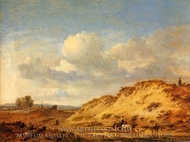 Peasants Driving Cattle and Sheep by a Sandhill painting reproduction, Jan Wyjnants