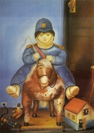 Pedro on Horseback painting reproduction, Fernando Botero