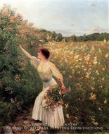 Picking Flowers painting reproduction, Pierre Andre Brouillet