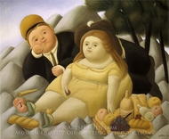 Picnic in the Mountains painting reproduction, Fernando Botero