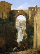 Ponte San Rocco and Waterfalls, Tivoli painting reproduction, Francois Marius Granet
